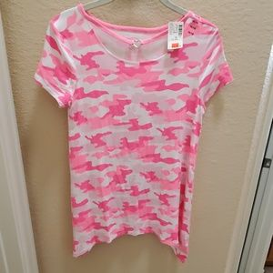 Justice pink / white camo shirt NWT